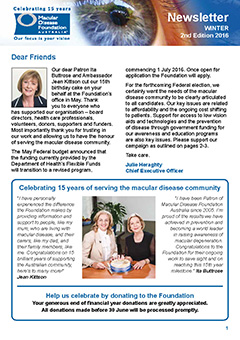 Front page of Winter 2016 Newsletter